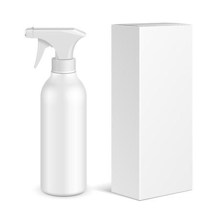 Spray Pistol Cleaner Plastic Bottle With Cardboard Box. Illustration Isolated On White Background.  Vector EPS10