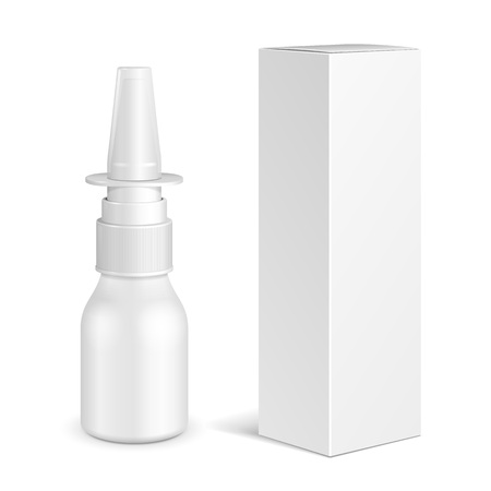 Spray Medical Nasal Antiseptic Drugs Plastic Bottle With Box. Common Cold, Allergies. Mock Up Ready For Your Design. Illustration Isolated On White Background. Vector EPS10
