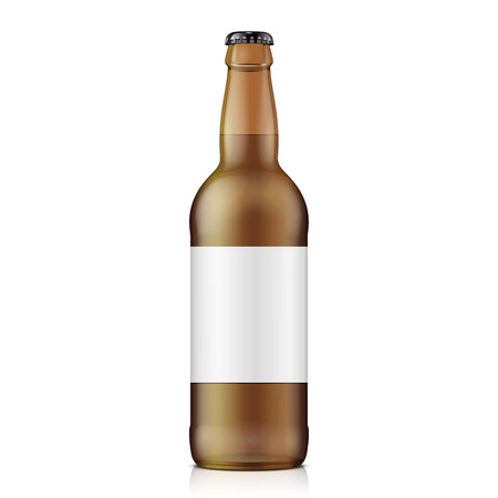 Glass Brown Beer, Ale, Cider Bottle. Carbonated Soft Drink. Mock Up Template. Illustration Isolated On White Background. Ready For Your Design. Product Packaging. Vector EPS10
