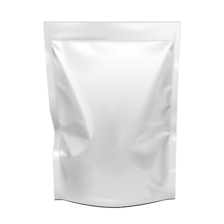 Blank Food Stand Up Flexible Pouch Snack Sachet Bag. Mock Up, Template. Illustration Isolated On White Background. Ready For Your Design. Product Packaging. Vector EPS10