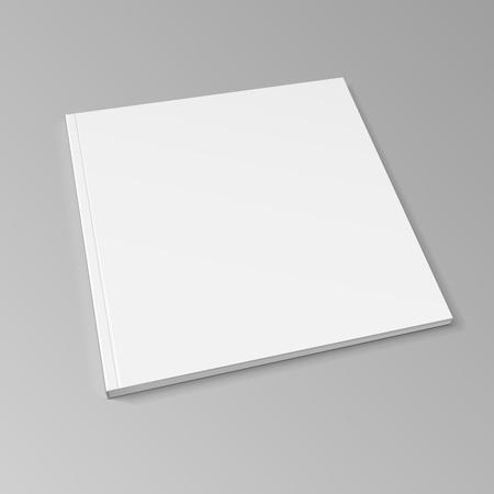 Blank Cover Of Magazine, Book, Booklet, Brochure. Illustration On Gray Background. Mock Up Template Ready For Your Design. Ilustração