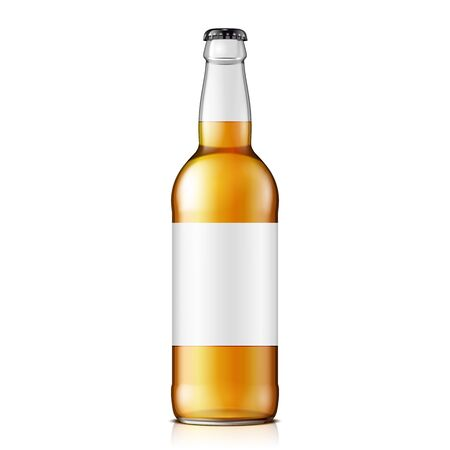 Mock Up Glass Beer Lemonade  Clean Bottle Yellow Brown. Blank Label. On White Background Isolated. Ready For Your Design. Product Packing. Vector EPS10