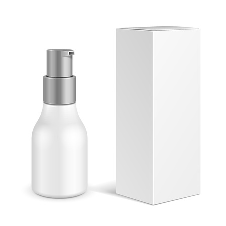 Spray Cosmetic Perfume, Deodorant, Freshener Or Medical Antiseptic Drugs Plastic Bottle With Box. Illustration Isolated On White Background. Ready For Your Design. Product Packing. Vector EPS10 Vectores