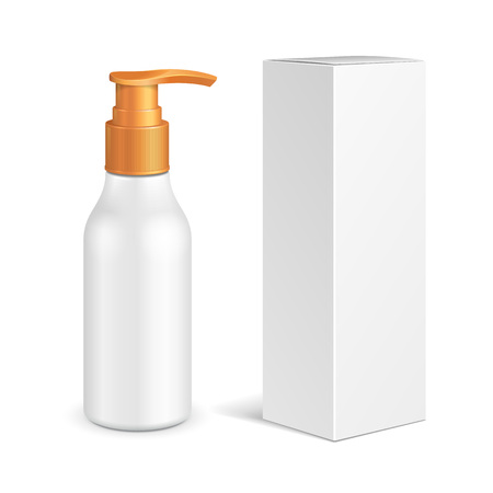 Cosmetic, Hygiene, Medical Grayscale Plastic Bottle Of Gel, Liquid Soap, Lotion, Cream, Shampoo With Box. Mock Up Ready For Your Design. Illustration Isolated On White Background. Vector EPS10