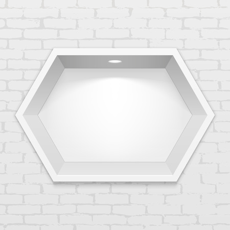 Empty Hexagonal Niche Shelf Display In The Brick Wall. To Present Your Product. Mock Up. 3D Illustration. Ready For Your Design. Advertising. Vector EPS10
