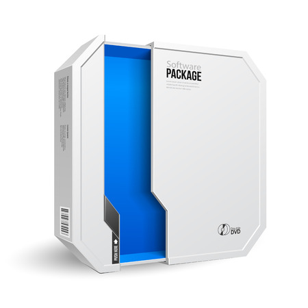 Opened Octagon Modern White Software Package Box, Blue Inside. Mock Up, Template. Illustration Isolated On White Background. Product Advertising. 일러스트