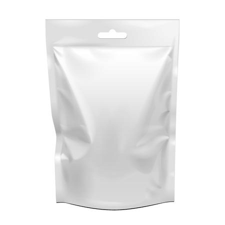 Lege etenswaren staan flexibele zakje snack zakje zakje op. Mock Up, sjabloon. Illustratie Geïsoleerd Op Een Witte Achtergrond. Klaar voor uw ontwerp. Produkt verpakking. Vector EPS10 Stockfoto - 97383606