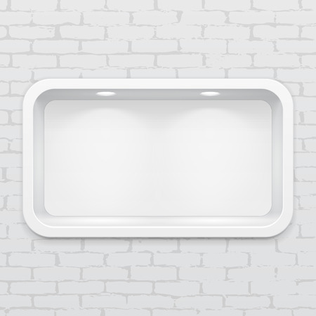 Empty Rounded Niche Shelf Display In The Brick Wall. To Present Your Product. Mock Up. 3D Illustration. Ready For Your Design. Advertising. Vector