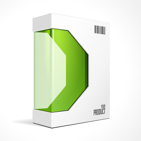 Modern Software Product Package Box With Green Window For DVD Or CD Disk.