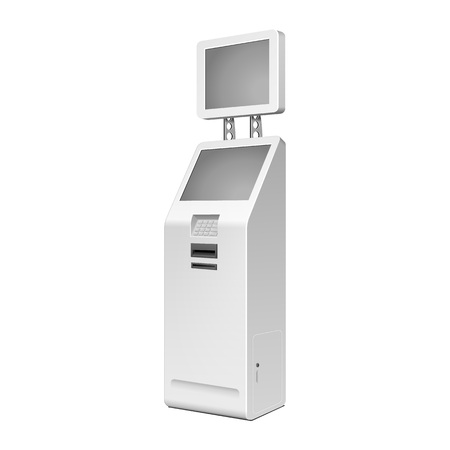 Outdoor White Payment Terminal On White Background.