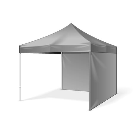 Promotional Outdoor Event Trade Show Pop-Up Tent Mobile Marquee. illustration Isolated On White Background.  Design Product Advertising. Vector