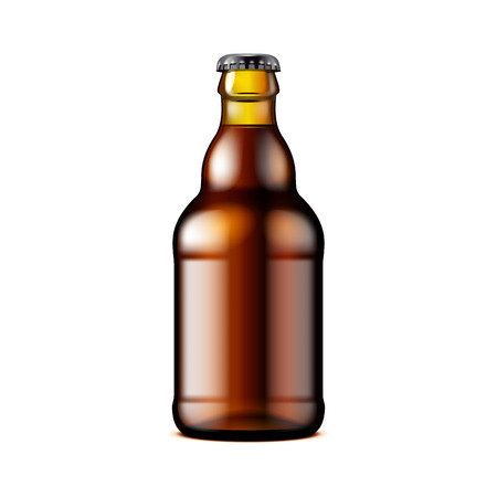 Glass Dark Brown Beer Mock Up Template Illustration Isolated On White Background.