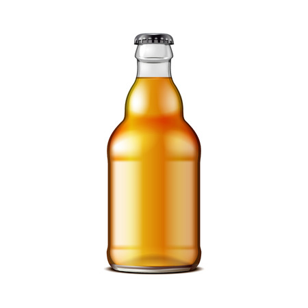 Glass Beer Lemonade Cola Clean Bottle Yellow Brown. Carbonated Soft Drink. Mock Up Template. illustration Isolated On White Background. Product Packaging Design. Vector