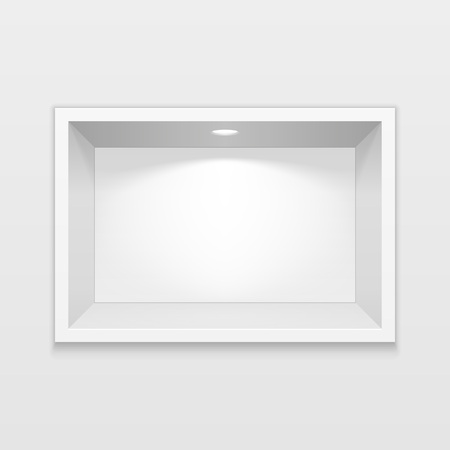 Empty Square Niche Shelf Display. To Present Your Product. Mock Up. 3D Illustration. Vector EPS10 Stock Illustratie