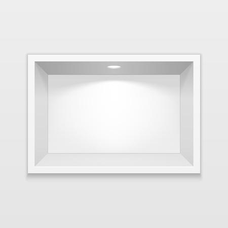 Exhibición del estante del nicho cuadrado vacío. Para presentar su producto. Bosquejo. Ilustración 3D. Eps10 vectorial Ilustración de vector