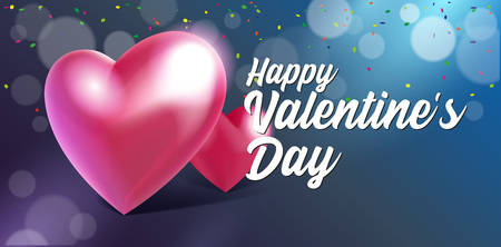 Valentines Day Banner 3D Heart Background. Red, White, Pink, Blue. Postcard, Love Message or Greeting Card. Place For Text.