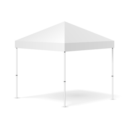 Mockup Promotional Outdoor Event Trade Show Pop-Up Tent Mobile Marquee. Mock Up, Template. Illustration Isolated On White Background. Ready For Your Design. Product Advertising. Vector EPS10 Illustration