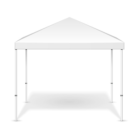 Mockup Promotional Outdoor Event Trade Show Pop-Up Tent Mobile Marquee. Mock Up, Template. Illustration Isolated On White Background. Ready For Your Design. Product Advertising. Vector EPS10