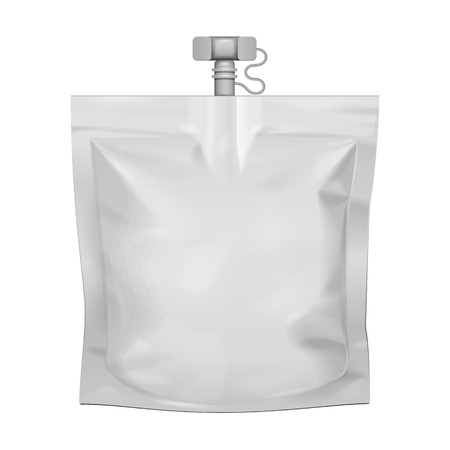Mockup Pouch Sachet Bag With Spout Lid. Blank Food Stand Up Flexible. Mock Up, Template. Illustration Isolated On White Background. Ready For Your Design. Product Packaging. Vector EPS10