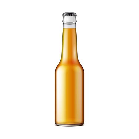 Szkło Piwo Lemoniada Cola Czyste Butelki Żółty Brązowy. Gazowany napój bezalkoholowy. Szablon makiety. Ilustracja Na Białym Tle. Gotowy na Twój projekt. Opakowanie produktu. Wektor