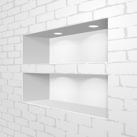 Empty Square Niche Shelf Display In The Brick Wall. To Present Your Product. Mock Up. 3D Illustration. Vector EPS10