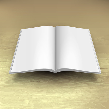 Blank Open Magazine, Book, Booklet, Brochure, Cover. White On Wood Texture Background. Mock Up Template Ready For Your Design. Vector EPS10 Иллюстрация