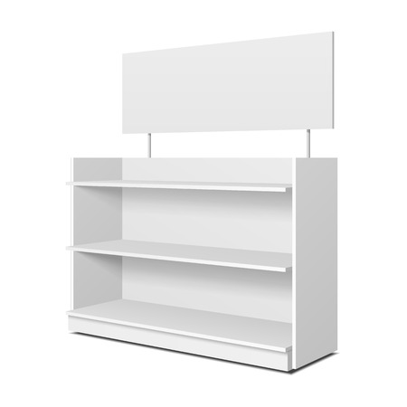 Blank Empty Showcase Displays With Retail Shelves, Trading Rack. Mock Up, Template. Illustration Isolated On White Background. Ready For Your Design. Product Advertising. Vector