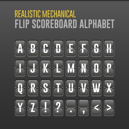 Mechanical Flip Scoreboard Alphabet. Vector Font, Board Symbols. Vector EPS10 Vector Illustration