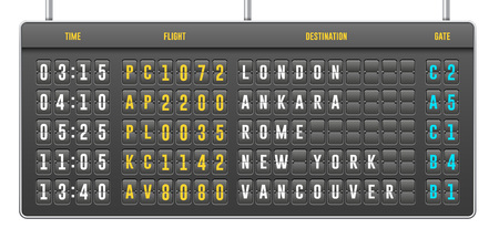 Mechanical Realistic Flip Scoreboard, Arrival Airport Board With Letters, Numbers, Time Display Board For Airport Schedule, Train Destination Timetable.