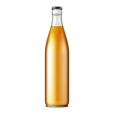 Glass Beer Lemonade Cola Clean Bottle Yellow Brown. Carbonated Soft Drink. Mock Up Template. 矢量图像