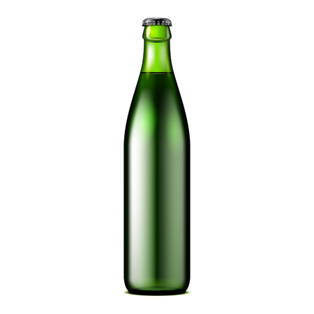 Glass Dark Green Beer, Ale, Cider Bottle. Carbonated Soft Drink. Mock Up Template. Illustration Isolated On White Background. Ready For Your Design. Product Packaging. Vector EPS10 Illustration