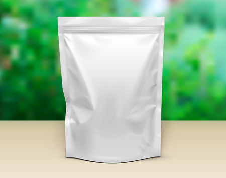 Mockup Blank Stand Up Pouch Snack Sachet Bag. Mock Up, Template. Illustration Isolated On White Background. Ready For Your Design. Product Packaging. Vector EPS10