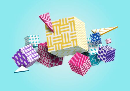 Abstract Geometric Background 3D Colorful Cubes, Triangle.
