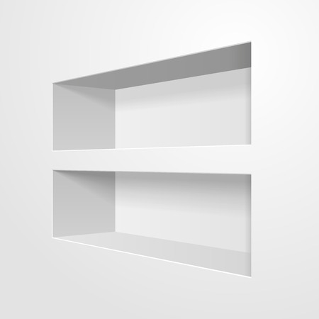 Mockup Empty Niche Shelf Display In The Wall. Present Your Product. Mock Up. Ilustração