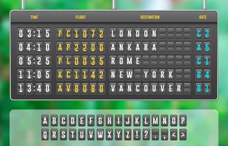 Tabellone segnapunti meccanico realistico di vibrazione, tabellone dell'aeroporto di arrivo con lettere, numeri, tabellone del tempo per l'orario dell'aeroporto, orario di destinazione del treno
