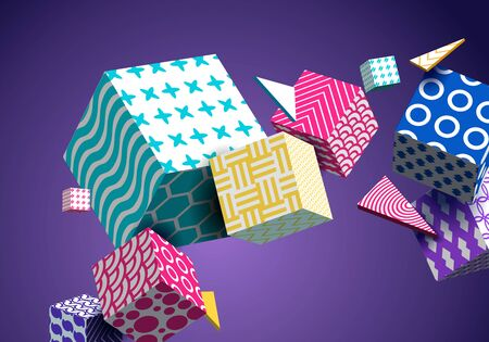 Abstract Geometric Background 3D Colorful Cubes, Triangle. Decorative Poster, Wallpaper, Texture.