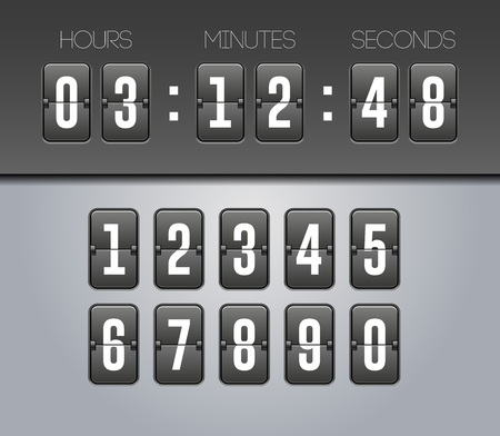 Mechanical Flip Countdown Clock Counter Timer. Digital Time Screen And Numbers.