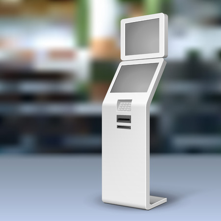 Mockup Payment Information Terminal. ATM, POS, POI Advertising Outdoor, Indoor Stand. 3D Mock Up, Template.