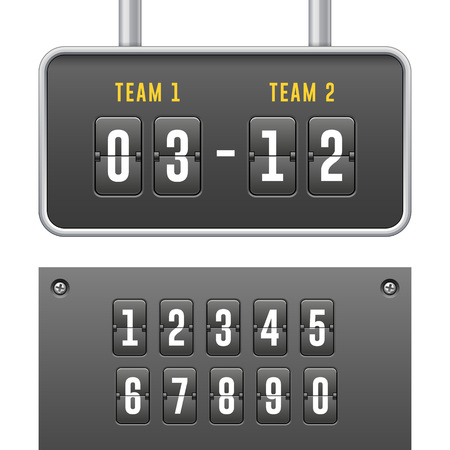 Mechanical Flip Countdown Clock Counter Timer. Digital Time Screen And Numbers. Board With Scoreboard Hour, Minutes and Seconds for Web Design.