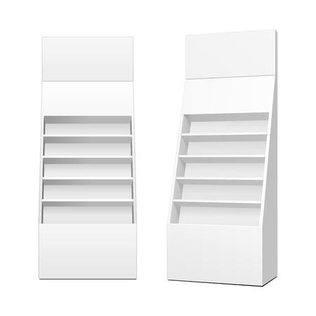 Cardboard Retail Shelves Floor Display Rack For Supermarket Blank Empty. Mock Up. 3D On White Background Isolated. Ready For Your Design. Ilustração