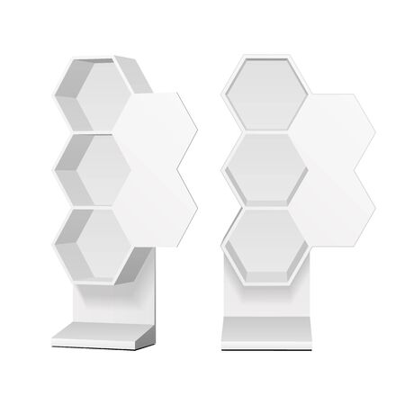 Mockup Hexagonal Retail Shelves Floor Display Rack For Supermarket Blank Empty. Cell. Cardboard . Mock Up. 3D On White Background Isolated. Ready For Your Design. Product Advertising. Vector EPS10