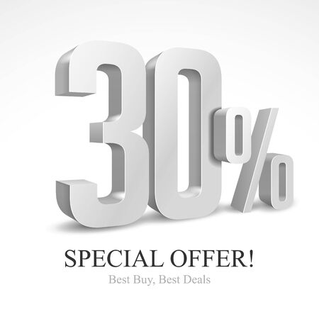 30 Off Special Offer Silver 3D Digits Banner, Template Thirty Percent. Sale, Discount. Grayscale, Metal, Gray, Glossy Numbers. Illustration Isolated On White Background. Ready For Your Design. Vector Reklamní fotografie - 132067687