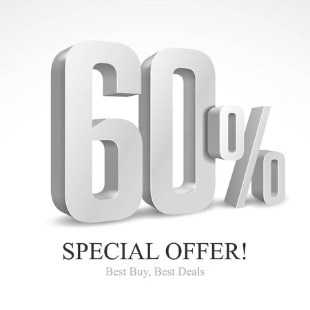 60 Off Special Offer Silver 3D Digits Banner, Template Sixty Percent. Sale, Discount. Grayscale, Metal, Gray, Glossy Numbers. Illustration Isolated On White Background. Ready For Your Design. Vector