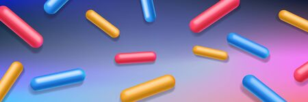 Abstract Background Pills, Capsules. Blue, Orange, Red, Yellow. Dynamic Creative Beautiful Template Advertising Poster, Business Card, Placard, Cover, Brochure, Web Design Banner. Ilustração