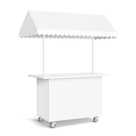 White POS POI Blank Empty Retail Stand Stall Mobile Bar Display With Roof, Canopy, Banner. Fast Food. On White Background Isolated. Banco de Imagens - 135582651