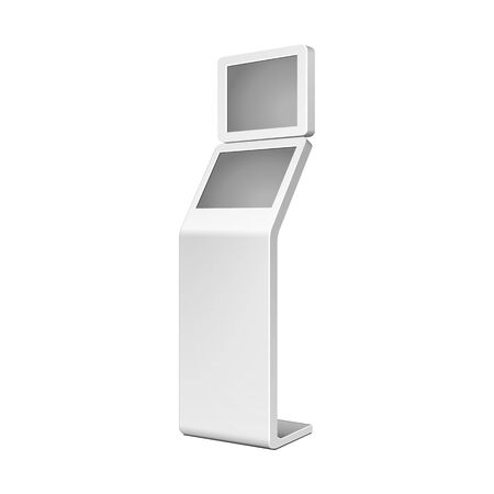Outdoor White. Payment Terminal. ATM, POS, POI Advertising Stand On White Background. Banco de Imagens - 135582653