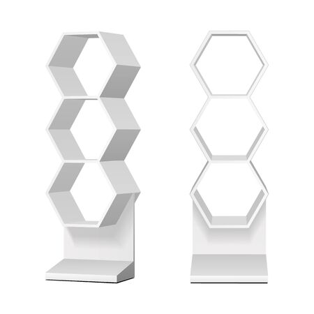 Mockup Hexagonal Retail Shelves Floor Display Rack For Supermarket Blank Empty. Cell. Cardboard . Mock Up. 3D On White Background Isolated. Banco de Imagens - 135582655