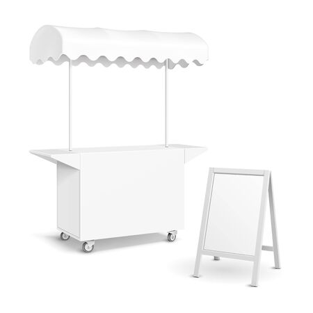 White POS POI Blank Empty Retail Stand Stall Mobile Bar Display With Roof, Canopy, Banner. Fast Food. On White Background Isolated. Mock Up Template Ready For Your Design. Product Packing Vector EPS10