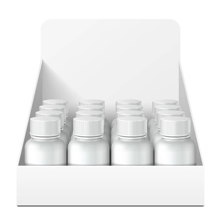 Mockup Display Holder Box Cardboard Filled Blank With Bottles, Cans, Jars. Vitamins, nutritional supplements, Cosmetic. Mock Up, Template. Products On White Background Isolated. Mockup Packing.