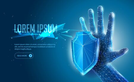 Abstract 3D Polygonal Wireframe Open Hand, Arm On Blue Background. Banner, Poster, Advertisement. Power, Strength, Protection, Control, Touch, Stop. Ready For Your Design. Vector EPS10 Ilustração